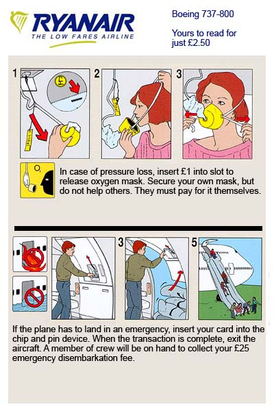 ryan air emergency card for bad airplane rides