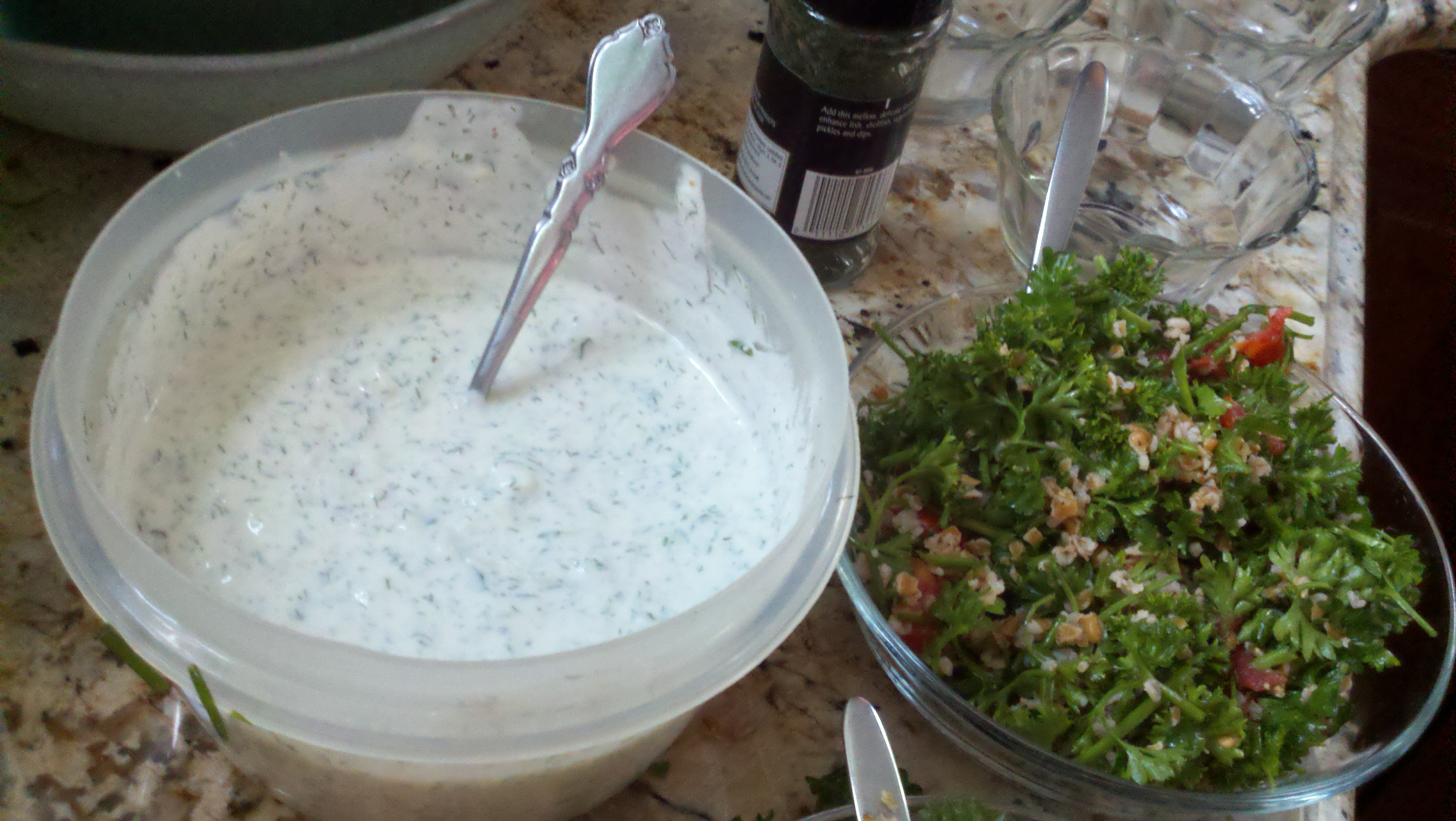 tzatziki and tabouleh prep