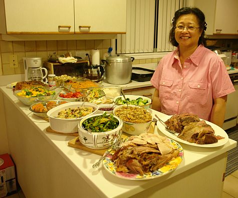 Chinese-woman-Christmas-buffet